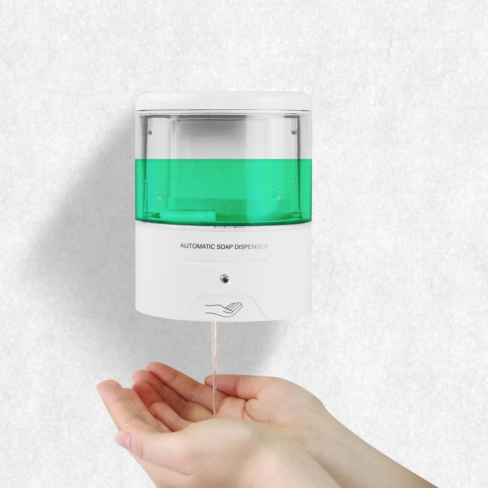 Hell 600 Ml Wand-mount Ir Sensor Touchless Automatische Flüssigkeit Seife Dispenser Für Küche Bad Home Qualität Tropfen Verschiffen Heimwerker