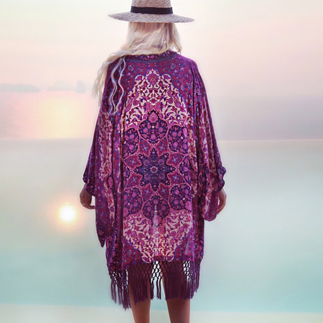 Swimsuit Coverups 2018 Summer Chiffon Purple Fringe Bathing suit Cover ups Tuniques Pour Plage women Beach Dress Cover up