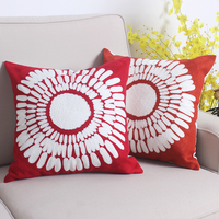Junwell Delicate Cotton Canvas Embroidery Square Sunflower Decorotive Pillow Patio Couch Throw Cushion Invisible Zipper 45CM SQ