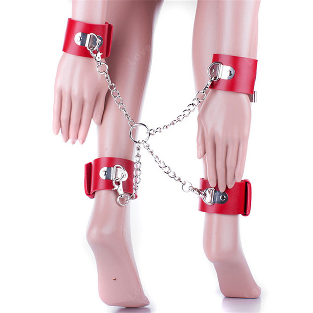 Erotic Toys Pu Leather Cross Belt Foot Hands Ankle Cuffs Bed Bondage  Restraints Sex Products Adult Games Sex Game BDSM Sex Toys