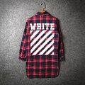 2017 tendencia de la moda de Descuento Blanco Pyrex franela Sarga Imprimir Inglaterra extendida Red plaid camisa de manga larga Camisa de alta calidad