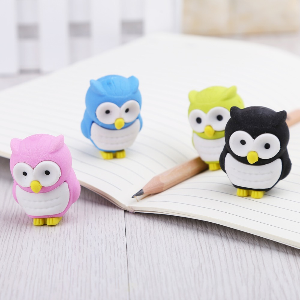 Creative 3D Owl Eraser Rubber Pencil Stationery Stationery Gift School Supplies