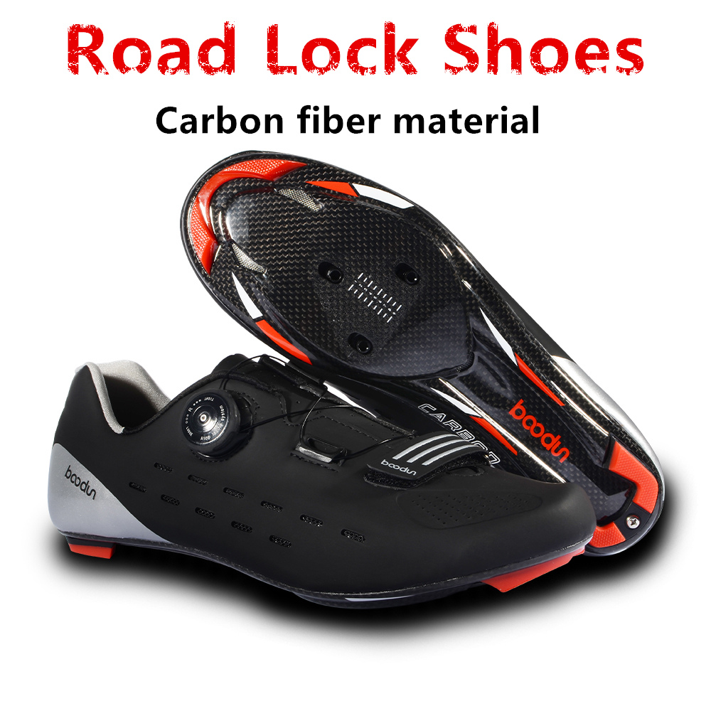 2018 new professional competition grade carbon fiber Road cycling lock shoes ultralight 440G breathable non-slip bicycle shoes