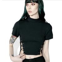 Women Bandage T Shirt Fashion Sexy High Neck Criss Cross Top Casual Lady Female T Shirt