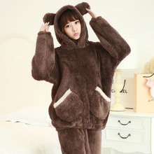 Autumn and winter women thickening pajamas coral fleece hooded pyjamas cute cartoon bear flannel pijama female home clothes suit
