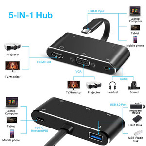 Image 2 - Thunderbolt 3 USB3.1 type C naar HDMI/VGA/USB/PD kabel voor laptop met HD display