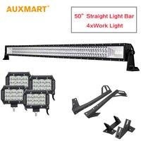 AUXMART 3 ряда светодиодный 50 дюймов прямые светодиодный свет бар 12 В + 4 шт. пятно Наводнение Светодиодный Подсветка с креплениями кронштейны дл