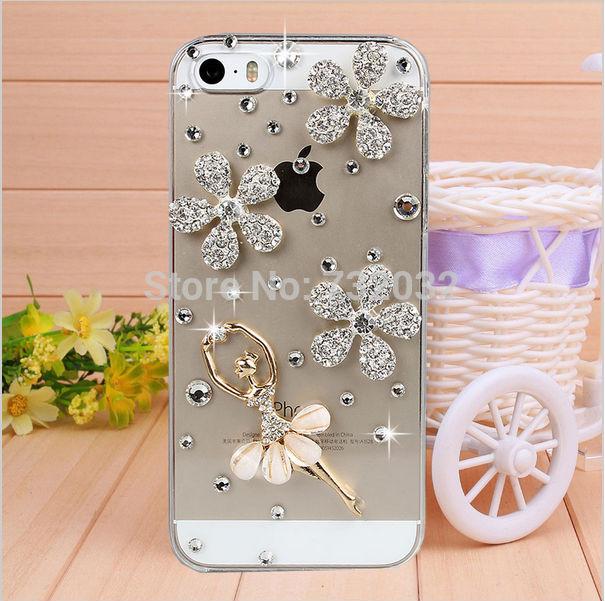 df5acd620e7997 Bling Rhinestone Flower Ballet Dancer Girl Phone Case for iPhone X 4s 5s 6  s 7 8 Plus Samsung S6 S7 edge S8 S9 Note 3 4 5 8 Case