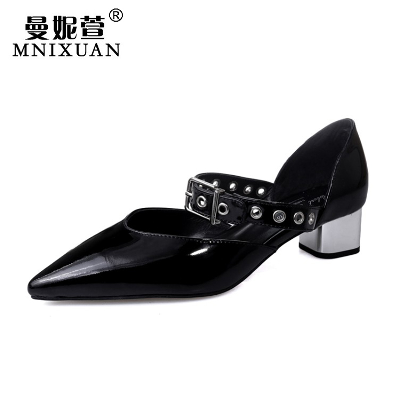 Spring summer 2017 new fashion women sandals pointed toe sexy office wear ladies shoes medium block heels black big size 414243 new 2017 spring summer women shoes pointed toe high quality brand fashion womens flats ladies plus size 41 sweet flock t179