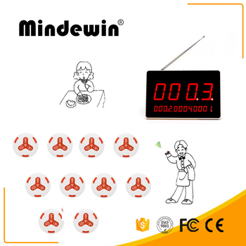 Mindewin Electronic Restaurant Table Number LED Display And 10PCS White Call Button Wireless Call System Receiver Displa