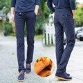 2016 Nueva Moda de Invierno Para Hombre Casual Pantalones Gruesos Pantalones de Cintura Elástica de Algodón Sólido con Forro Cálido Terciopelo Recta Pantalones