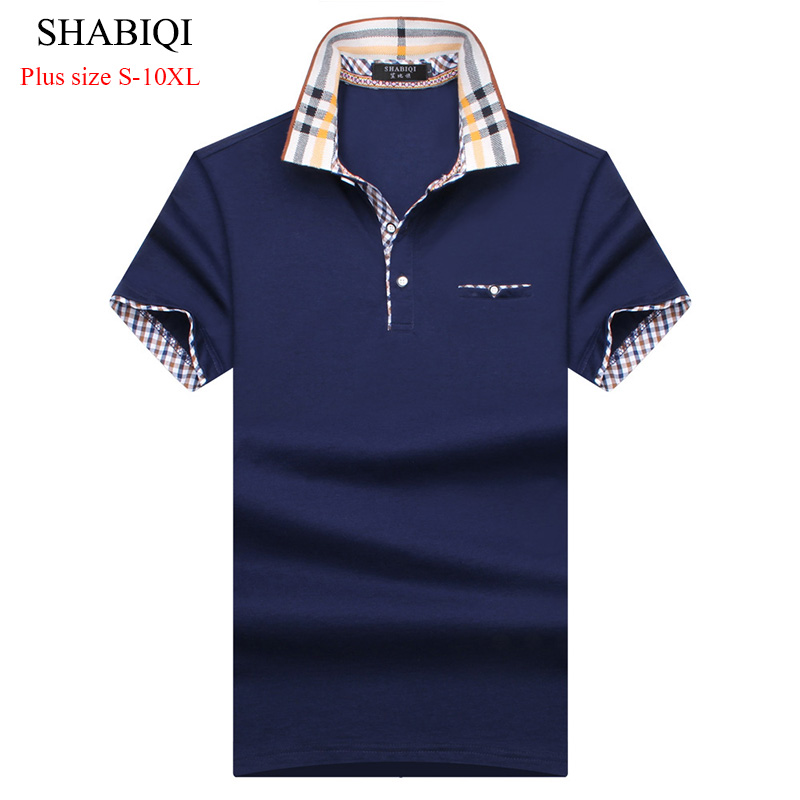 2019 New Arrival Classic style Men   Polo   Shirt Summer Short Sleeve   Polos   Shirt Mens Solid Shirt 95% CottonBIG menPlus size S-10XL