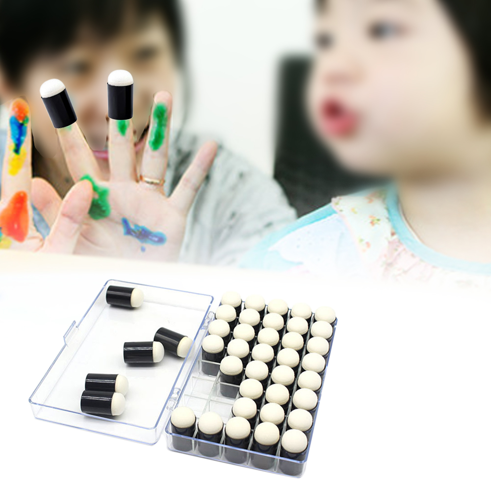40pcs DIY Ink Pad Finger With Box Kids Multifunctional Stamping Scrapbooking Handmade Craft Sponge Daubers Paint Tool