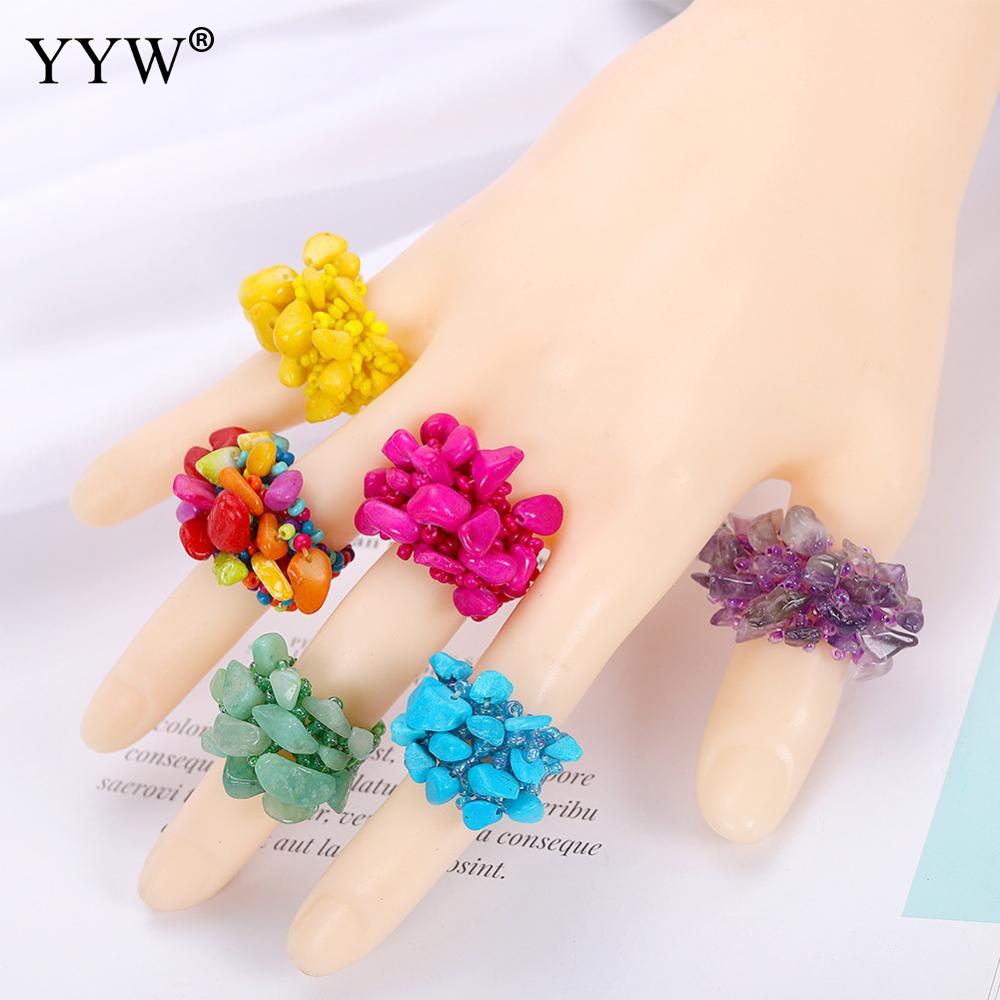 Bohemian Colorful Beads Rings For Women Handmade Beaded Party Finger Accessories Ethnic Jewelry Girls Statement