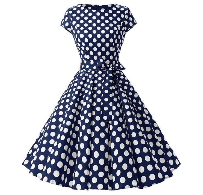 La MaxZa 2019 femmes d'été imprimer robe robes largos de verano casual vintage vêtements parti robes Élégant Tunique rouge dot robe - 3