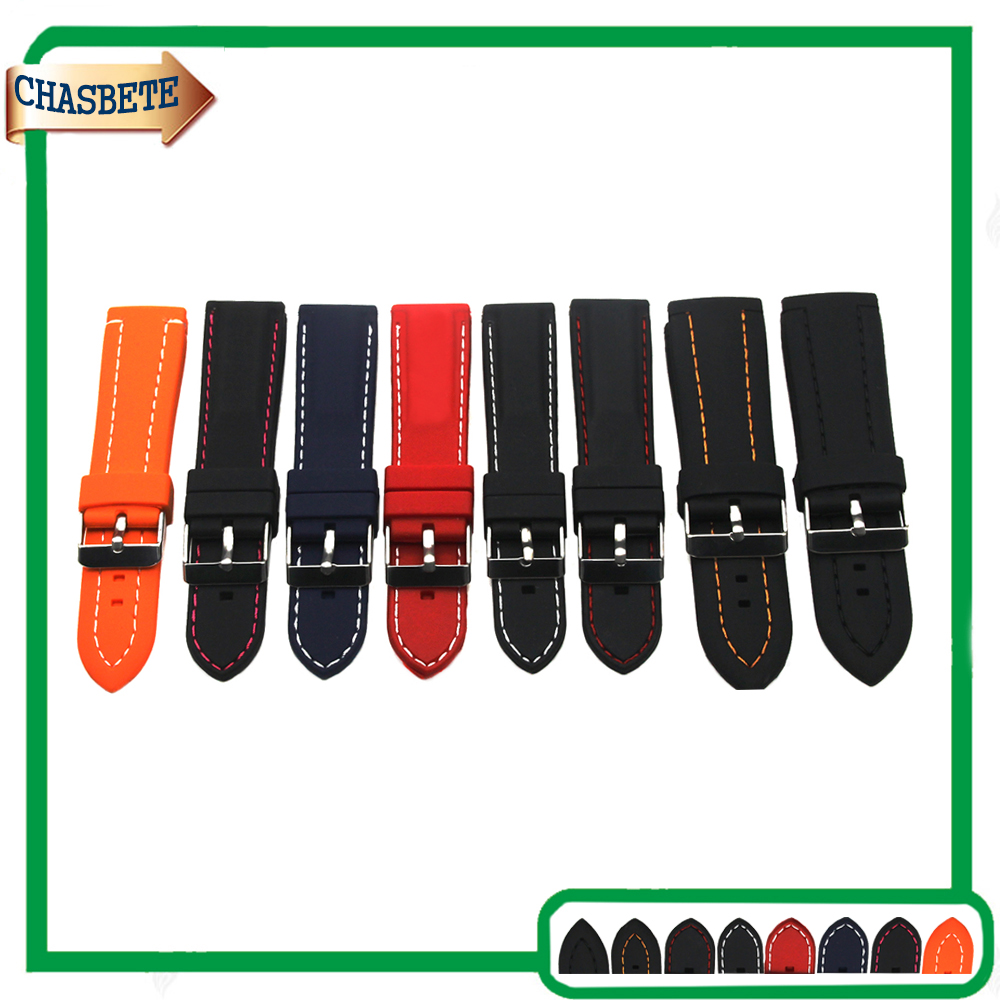 цены на Silicone Rubber Watch Band for Panerai Luminor Radiomir 22mm 24mm 26mm Men Women Resin Strap Belt Wrist Loop Bracelet Black Red в интернет-магазинах