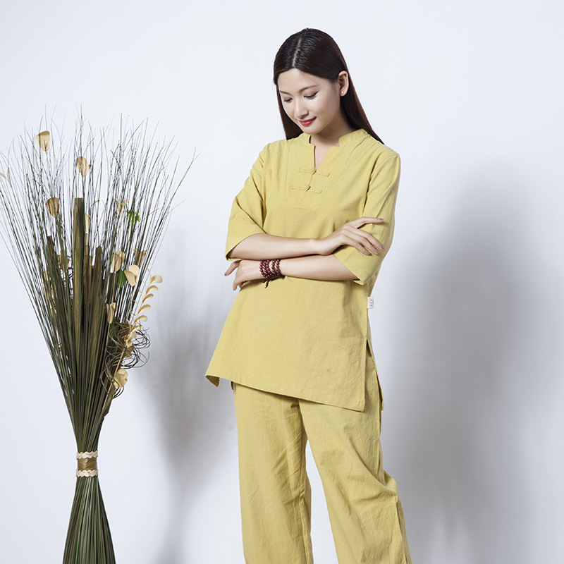 High Quality Zen Meditation Yoga Suit Loose Trousers Tops Set Tai