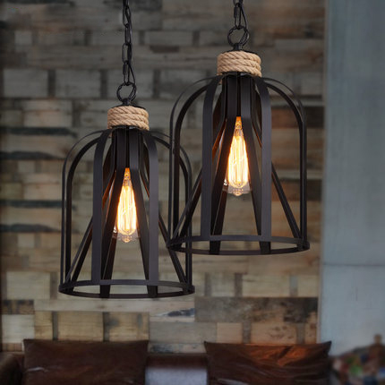 Retro indoor lighting Vintage pendant light LED lights iron cage lampshade light fixture Metal Hanging Lamps For Coffee Shop Bar art studio rural rustic metal professional lighting bar restaurant coffee shop decorative lighting retro pipe pendant lamps e27