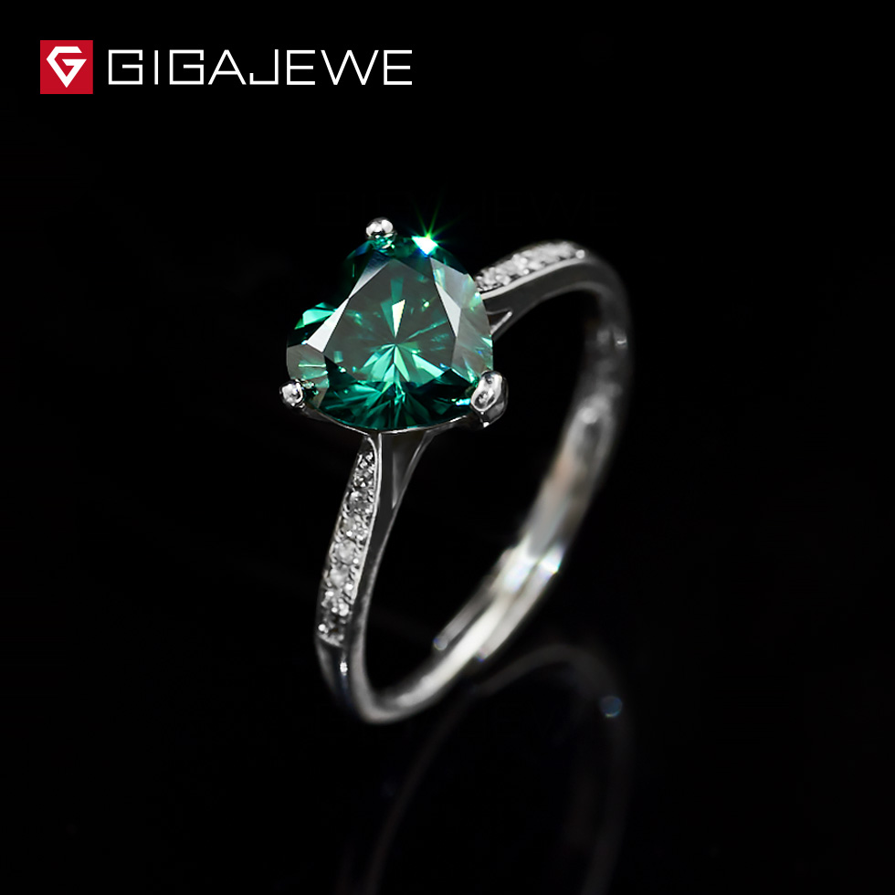 GIGAJEWE Heart 1 3ct Green Diamond Test Passed Moissanite 18K White Gold Plated Silver 925 Ring