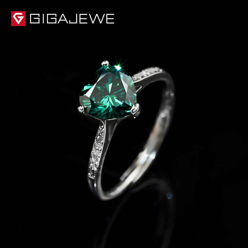 GIGAJEWE Heart 1.3ct Green Diamond Test Passed Moissanite 18K White Gold Plated Silver 925 Ring Jewelry Women Girlfrien Gift