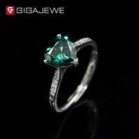 GIGAJEWE Heart 1.3ct Green Diamond Test Passed Moissanite 18K White Gold Plating Silver 925 Ring Jewelry Women Girlfrien Gift