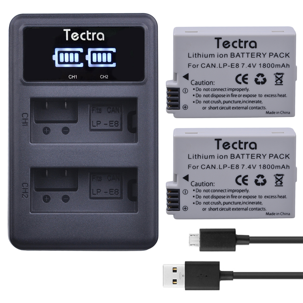 2 unids LP-E8 LPE8 LP E8 de batería de la Cámara batería AKKU + LED cargador Dual USB para Canon EOS 550D 600D 650D 700D X4 X5 X6i X7i T2i T3i