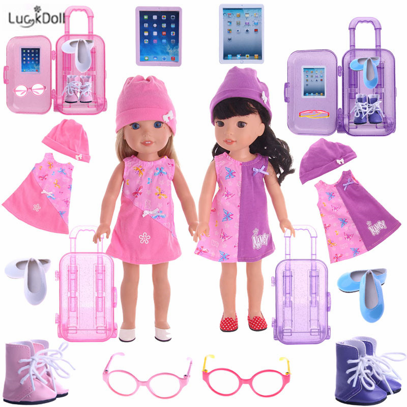 LUCKDOLL High Quality Fashion New Doll Travel Set For 14.5