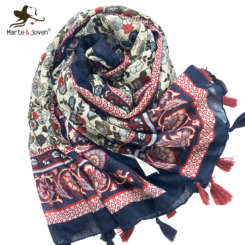Back To Search Resultsapparel Accessories Marte&joven Fashion Floral Printing Large Size Women Autumn/winter Warm Scarf Pashmina Ladies Elegant Soft Flower Shawls Wraps Drip-Dry