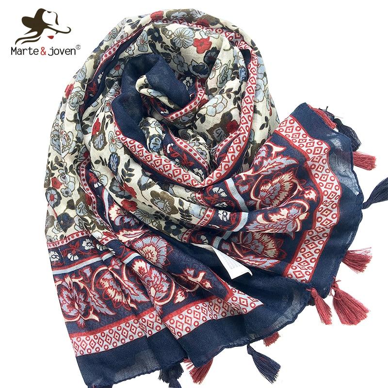 Marte&Joven Fashion Floral Printing Large Size Women Autumn/Winter Warm Scarf Pashmina Ladies Elegant Soft Flower Shawls Wraps