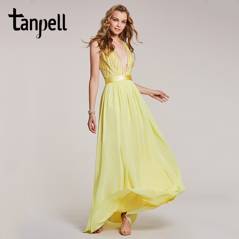 Tanpell v neck long   evening     dress   daffodil sleeveless beaded floor length a line gown women prom chiffon formal   evening     dresses