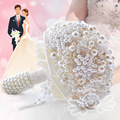 2016 Elegant pearl bride wedding bouquet with beaded crystal Flower decoration Wedding Bridal bouquet bride wedding accessories