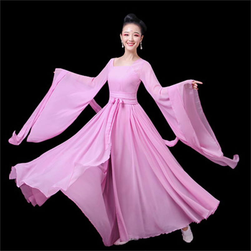 Women's Chinese Classical Style Dance Elegant Fresh Hanfu Wide-sleeved Flow Fairy Dress Performance Clothing  TB190226