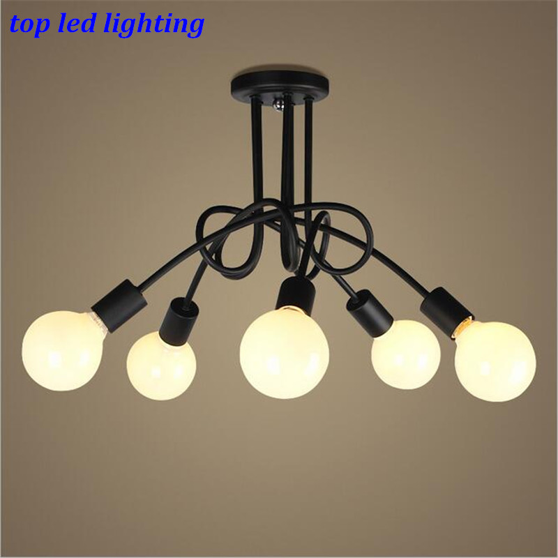 Vintage Loft Brief 3/6 heads Iron Ceiling Lights for Living Room Bedroom White/Black Led E27 Ceiling Lamps 1170 chandeliers lights led lamps e27 bulbs iron ceiling fixtures glass cover american european style for living room bedroom 1031