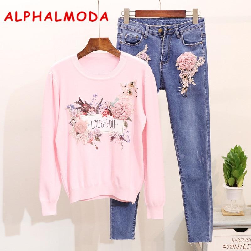 ALPHALMODA Broderie Amour Floral Cavaliers + Taille Basse Crayon Jeans Femmes Mode 2 ps Jeux Occasionnels Élégant Chandail Denim Pantalon
