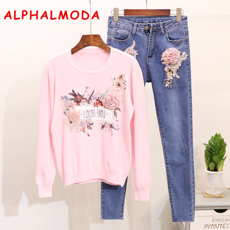 ALPHALMODA Embroidery Love Floral Jumpers + Low Waist Pencil Jeans Women Fashion 2ps Casual Sets Stylish Sweater Denim Pants
