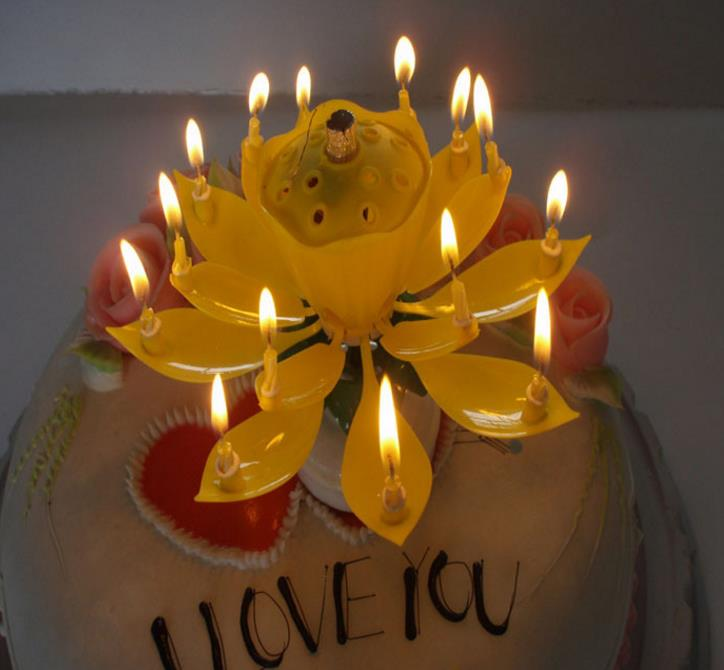 Musical Birthday Candle Magic Lotus Flower Candles Blossom Rotating Spin Party 14Small 2layers Cake Topper In Decorating Supplies From