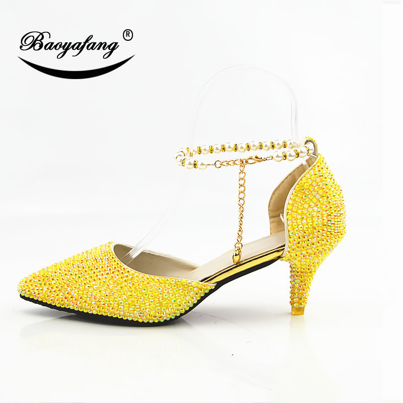 2019 New arrival Pointed toe Womens wedding shoes 6cm woman crystal party dress shoes yellow royal