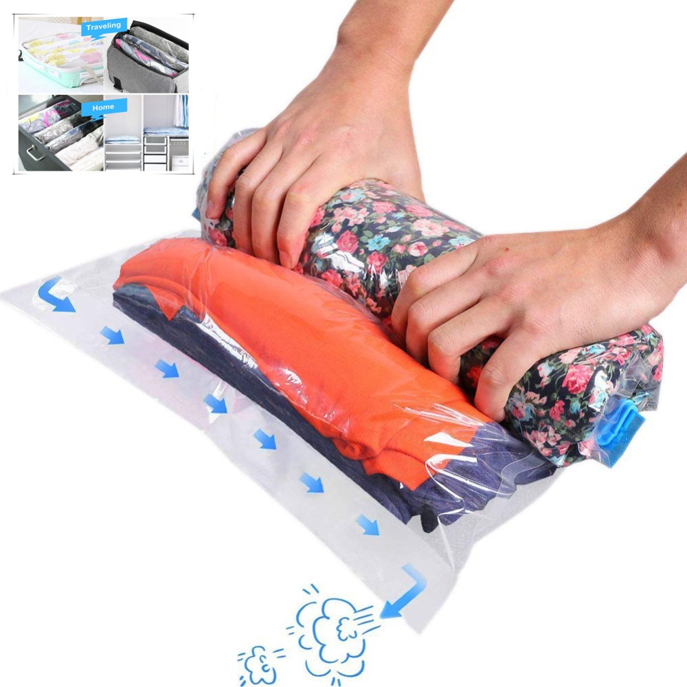 12PC Hand Rolling Type Compression Vacuum bag Transparent Foldable clothing Storage bag space saving bags for home and travel