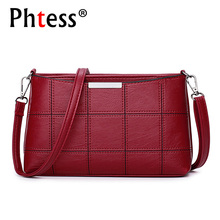 купить 2019 Women Plaid Messenger Bags Female Crossbody Leather Shoulder Bags Ladies Sac a Main Vintage Designer High Quality Handbags по цене 784.03 рублей