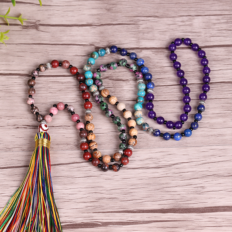 7 Chakra Mala Necklace 6Mm Natural Stone Long Tassel Necklace Women Meditation Necklace Yoga Necklace Jewelry