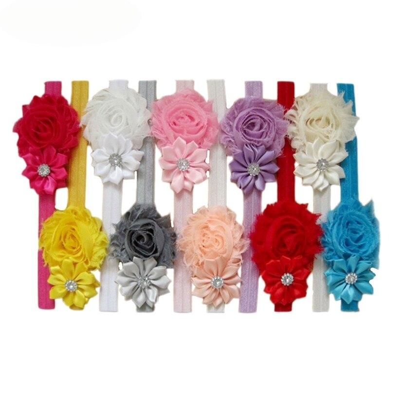 Newly Design 10pcs Lovely Hair Band Little Girl's Headbands Chiffon Hair Flower Type Headwear Drop Shipping