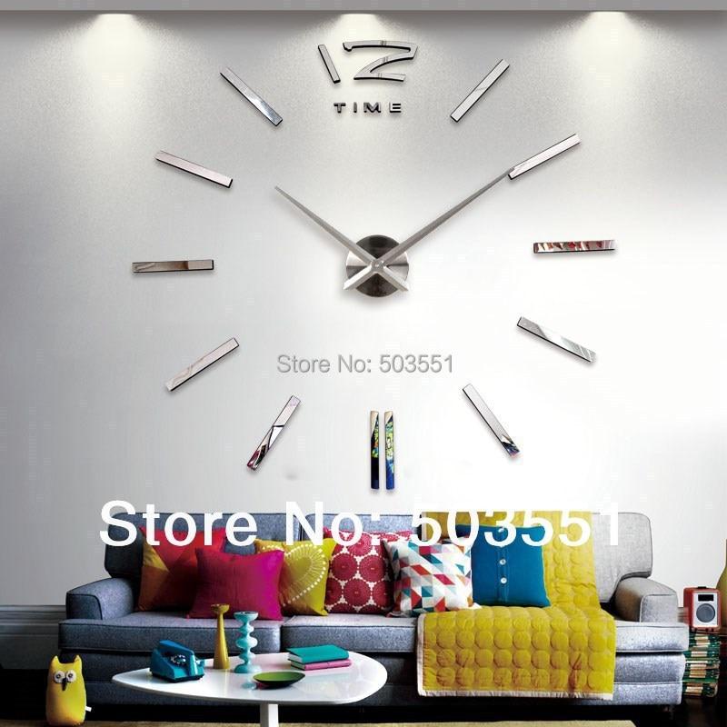 Modern Art DIY 3D Digital Mirror Wall Clock Sticker Watch Unique Gifts Home Decoration Freeshipping art clock diy - YTSTICKER store