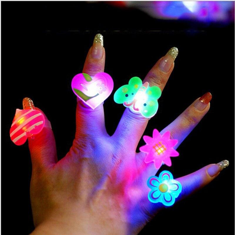 5pcs Luminous Rings Glow In The Dark Toys For Children Funny Cartoon Cute Toys Kids Girl Gift Random Pattern