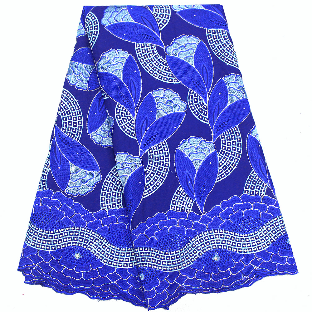 Blue African Voile Lace Fabric High Quality Lace Swiss Voile lace In Switzerland Embroidery Nigerian Cotton