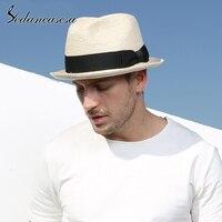 Sedancasesa male fedora straw hat UV protection summer sun hats for man women handmade straw trilby cap beach holiday cool