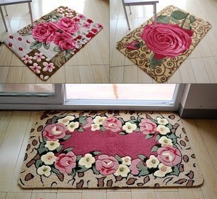 Awesome Hot Selling 3D Beautiful Rose Floral Carpets Washable Carved Doormat Slip Mat  Kitchen Rugs Bathroom Mats