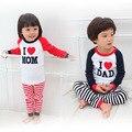 Девочка мальчик костюм детская одежда набор футболка + брюки я люблю мама папа ребенка пижамы набор хлопка