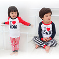 Baby girl boy suit children clothing set t shirt+pants i love mom dad baby pajamas set cotton