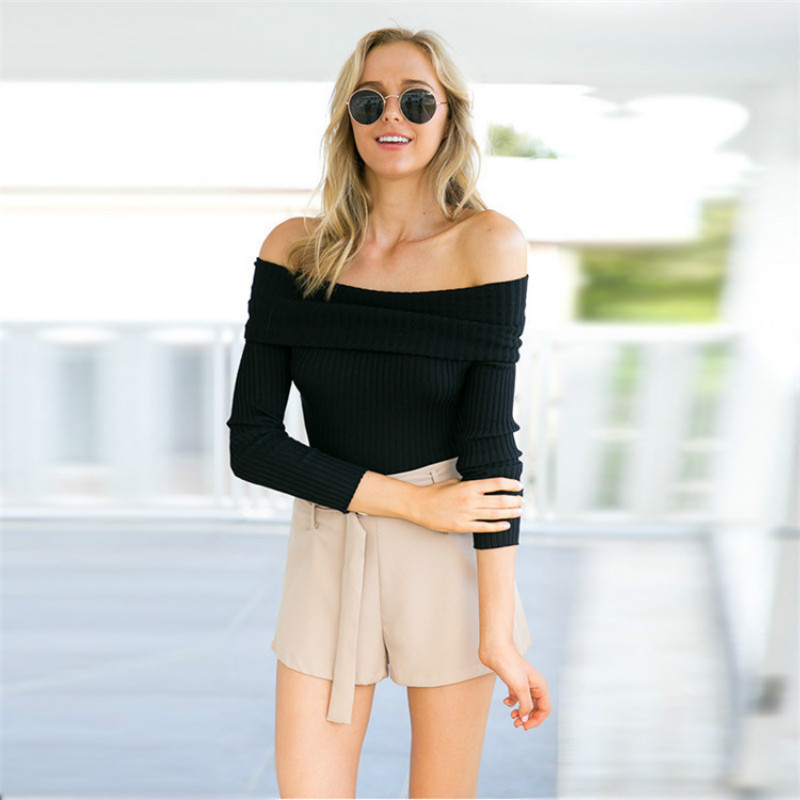 Off Shoulder Knitted Sweater Women 2018 Winter Slim Oversized Sweaters and Pullovers Autumn Pink Jumper Pull Femme