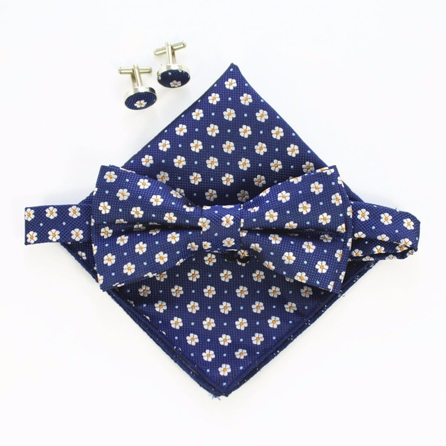 Handkerchief-Set-Bow-tie-Cufflinks-Pocket-Squares-4